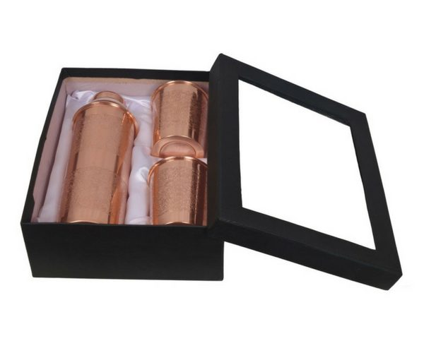 Pure Copper Gift Set – 800ml Embossed Copper Botttle With 2 Glasess.