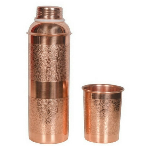 Pure Copper Embossed Water Bottle 800ml With One Glass